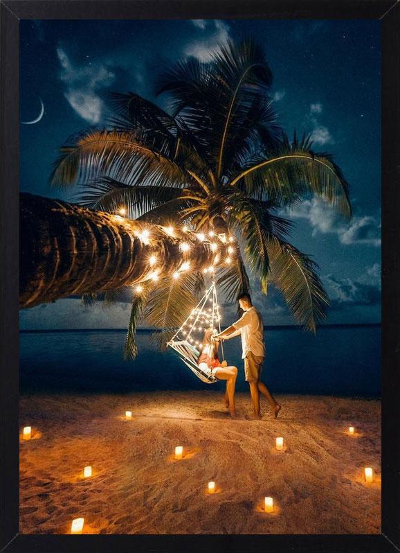 Пример лучшего оригинального и необычного подарка - еврокартины. Фотокартина с подсветкой, без часов, без паспарту. Стильный постер - пальма и море