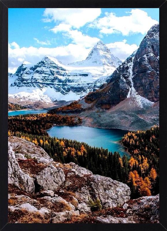 Пример лучшего оригинального и необычного подарка - еврокартины. Фотокартина с подсветкой, без часов, без паспарту. Стильный постер - снежные горы с озером