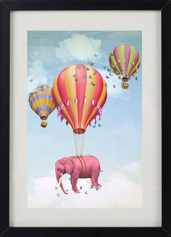 Пример лучшего оригинального и необычного подарка - еврокартины. Фотокартина с подсветкой, без часов, с паспарту. Стильный постер для детей - слон и воздушный шар