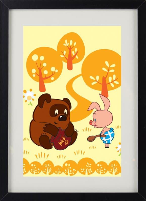 Пример лучшего оригинального и необычного подарка - еврокартины. Фотокартина с подсветкой, без часов, с паспарту. Стильный постер для детей - винни пух