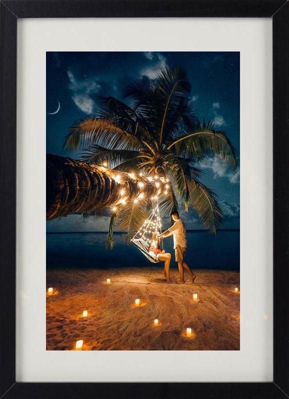 Пример лучшего оригинального и необычного подарка - еврокартины. Фотокартина с подсветкой, без часов, с паспарту. Стильный постер - пальма и море