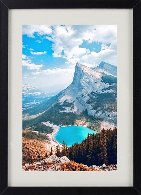 Пример лучшего оригинального и необычного подарка - еврокартины. Фотокартина с подсветкой, без часов, с паспарту. Стильный постер - горы