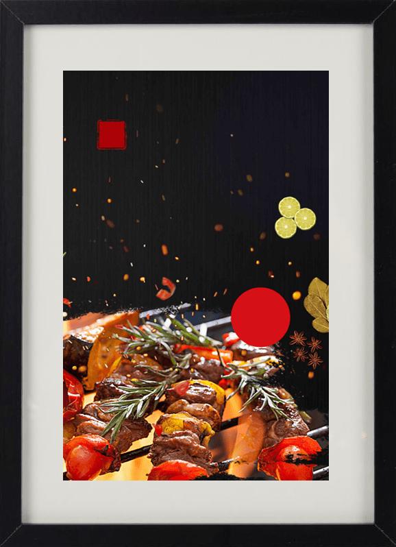 Пример лучшего оригинального и необычного подарка - еврокартины. Фотокартина с подсветкой, без часов, с паспарту. Стильный постер - шашлык, еда