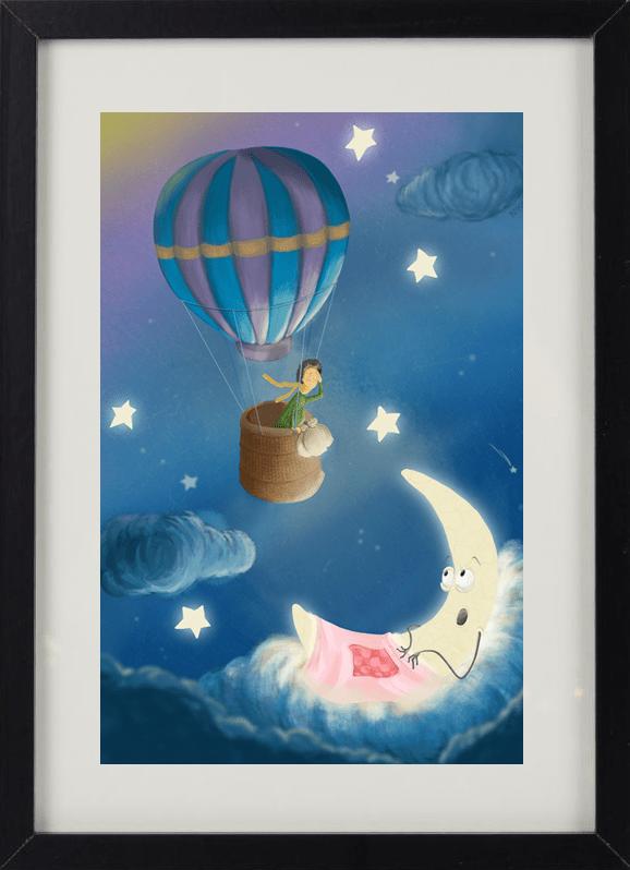 Пример лучшего оригинального и необычного подарка - еврокартины. Фотокартина с подсветкой, без часов, с паспарту. Стильный постер для малышей - ночник, луна